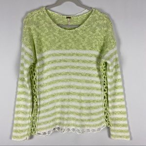 Free People Green and White Striped Sweater